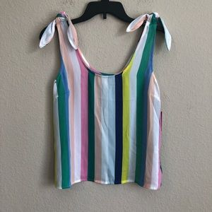 SO Striped Tank Top With Knot Shoulder Details NWT